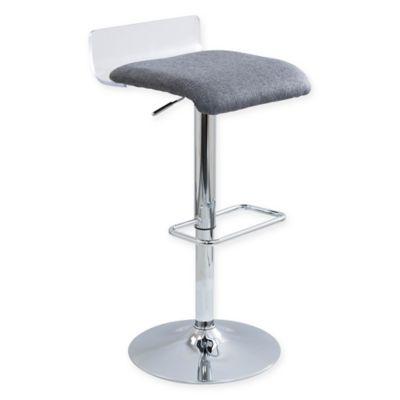 LumiSource Swerve Acrylic and Wood Adjustable Barstool in Grey
