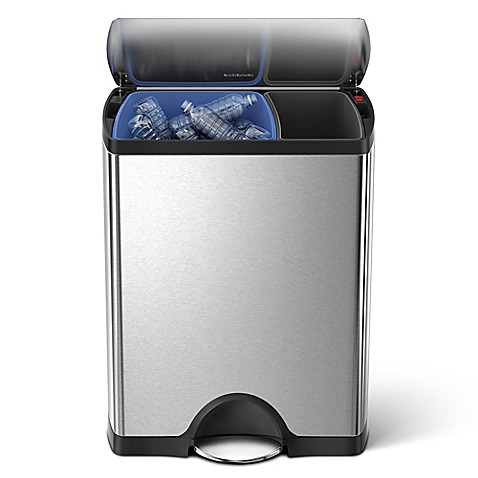 simplehuman® Brushed Stainless Steel Fingerprint-Proof Rectangular 46-Liter Recycler Can
