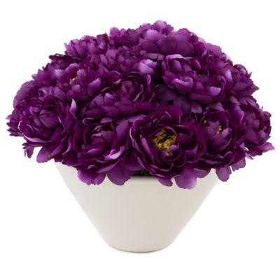 John-Richard 12-Inch Aubergine Peony Pave Floral Arrangement in White/Purple