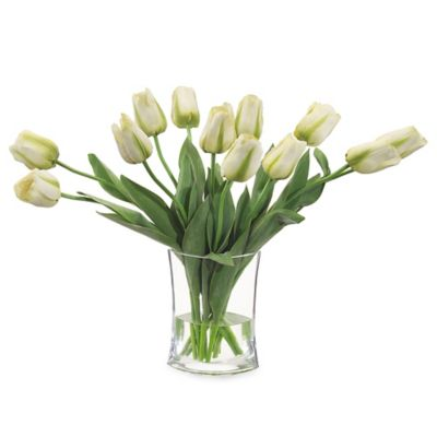 John-Richard 21-Inch Simply Tulips Floral Arrangement in White/Green