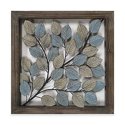 Leaves metal wall art in blue cream bed bath beyond for Blue bathroom wall decor