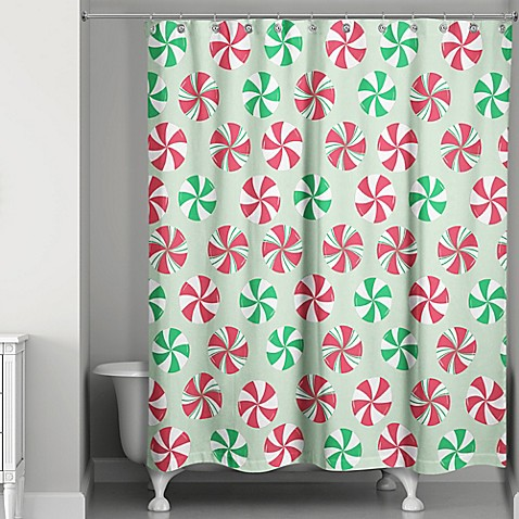 Buy Peppermint Candy Shower Curtain In Green Red From Bed