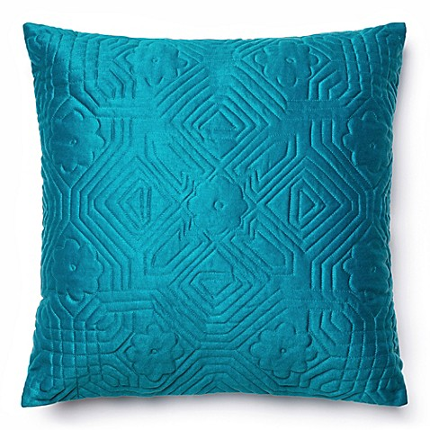 Square Throw Pillow Pattern : Buy Loloi Quilted Pattern 22-Inch Square Throw Pillow in Teal from Bed Bath & Beyond