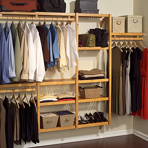 John Louis Home Honey Maple Standard Closet Organizer