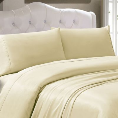 300-Thread-Count Tencel® Polyester Solid Twin Sheet Set in Ivory