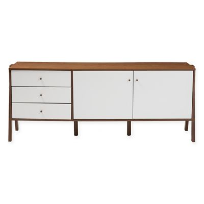 Baxton Studio Harlow Sideboard Storage Cabinet in White/Walnut