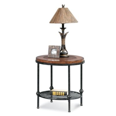 Bassett Mirror Company Bentley Round End Table in Pewter