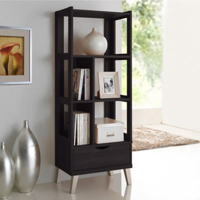 Baxton Studio Kalien Small Bookcase in Dark Brown