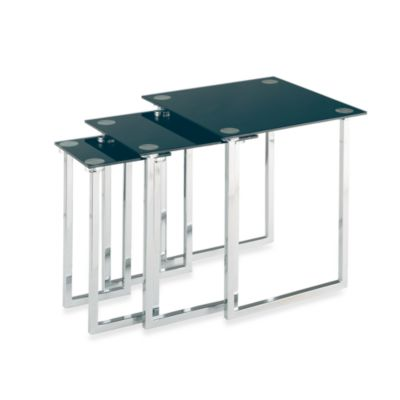 Nesting Tables with Black Glass Tops in Polished Chrome (Set of 3)