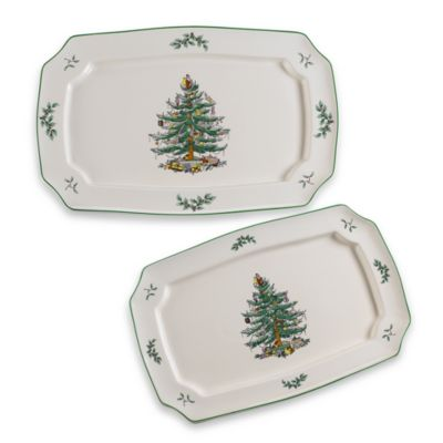 Rectangular Christmas Tree Platter (Set of 2)
