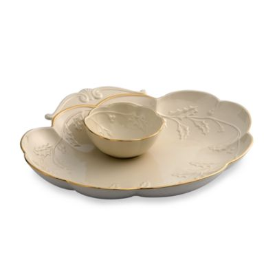 Lenox® Holiday™ Raised Holly Chip & Dip 2-Piece Server