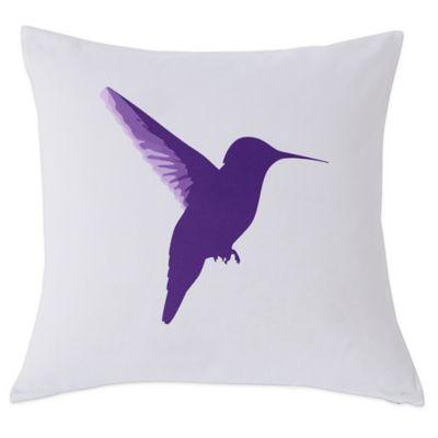 Kensie Vicki Square Throw Pillow in White/Purple