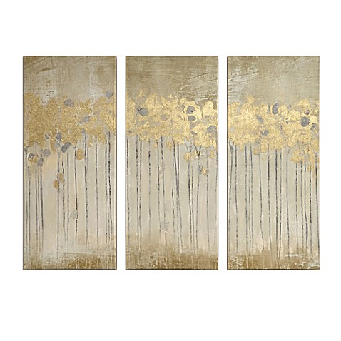 Madison park sandy forest gel coat canvas with gold foil for Gold wall art