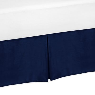 Sweet Jojo Designs Chevron Queen Bed Skirt in Navy Blue