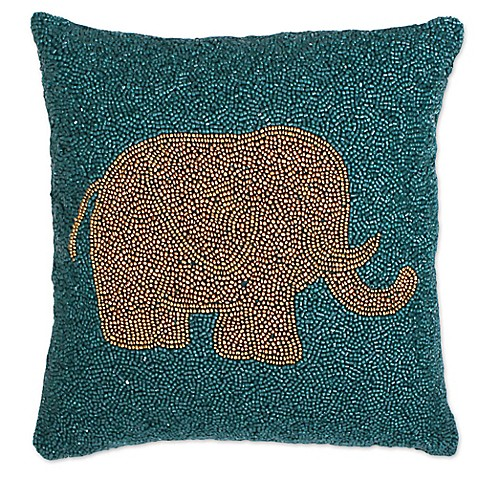 Elephant Throw Pillow Bed Bath And Beyond : Buy Thro Emelyn Elephant Square Throw Pillow in Teal/Gold from Bed Bath & Beyond