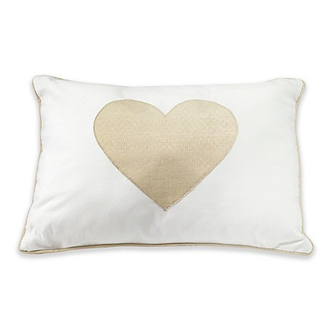 Lambs & Ivy Metallic Gold Heart Rectangular Throw Pillow in Gold - Bed Bath & Beyond