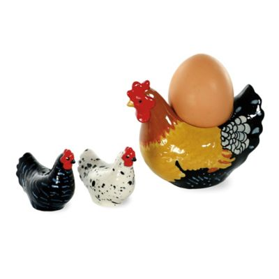 Spatter Hens 3-Piece Egg Cup with Salt and Pepper Set