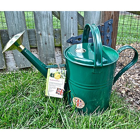 Buy haws traditional 1 2 gallon metal watering can in green from bed bath beyond - Gallon metal watering can ...