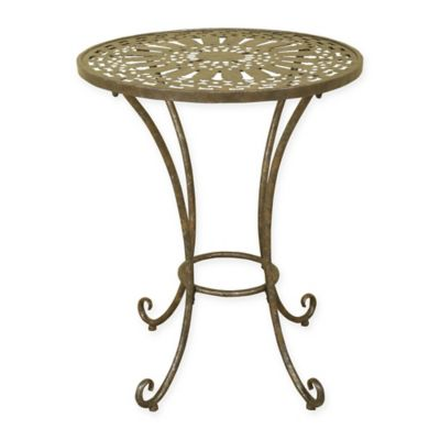 Metal Round Accent Table in Bronze