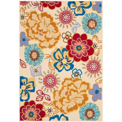 Safavieh Four Seasons Floral Whimsy 5-Foot x 7-Foot Indoor/Outdoor Area Rug in Ivory Multi