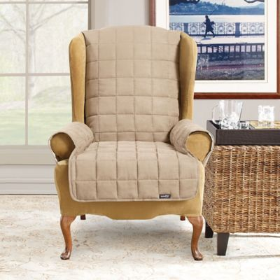 Sure Fit® Waterproof Wing Chair Slipcover in Taupe