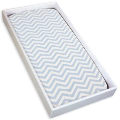 kushies® Cotton Flannel Change Pad Fitted Sheet in Chevron Blue