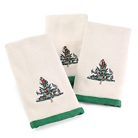 Buy Spode Christmas Tree Fingertip Towels In Ivory Set Of 3 From Bed Bath Beyond