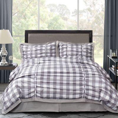 Ellie 4-Piece Queen Comforter Set in Gray