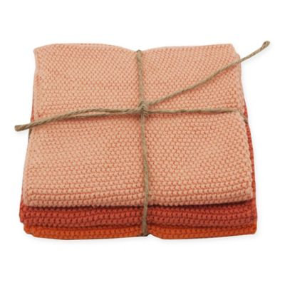 Melon Cotton Dish Cloths in Orange (Set of 3)