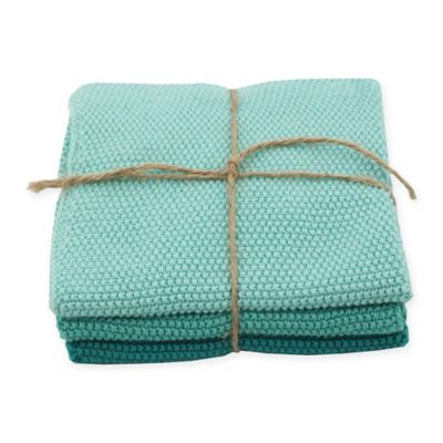 Marine Knitted Dish Cloths in Blue (Set of 3)