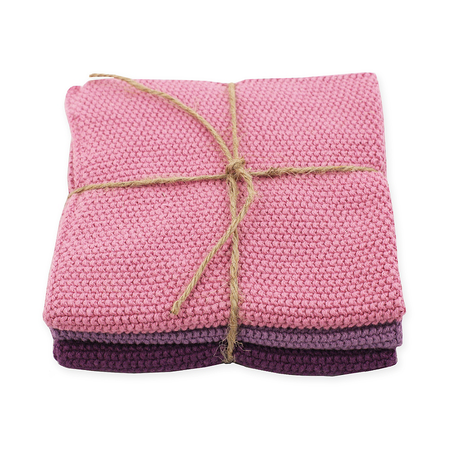 Rose Knitted Dishcloth in Pink/Purple (Set of 3)