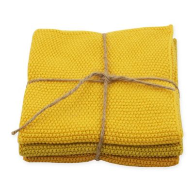 Golden Knitted Dishcloths (Set of 3)