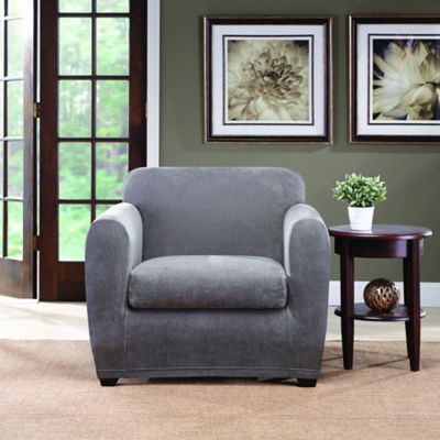 Sure Fit® Ultimate Stretch Chenille Chair Slipcover in Grey