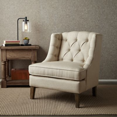 Madison Park Sawyer Button-Tufted Accent Chair in Cream