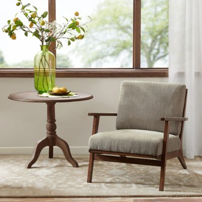 Madison Park Axis Exposed Wood Accent Chair in Mushroom