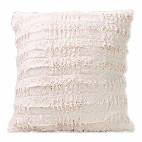 Buy Luxe Faux Fur Square Throw Pillow in Cream from Bed Bath & Beyond