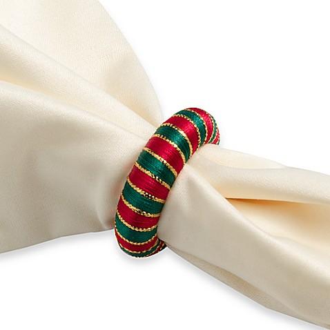 Holiday Yarn Wrapped Napkin Rings Set Of 12