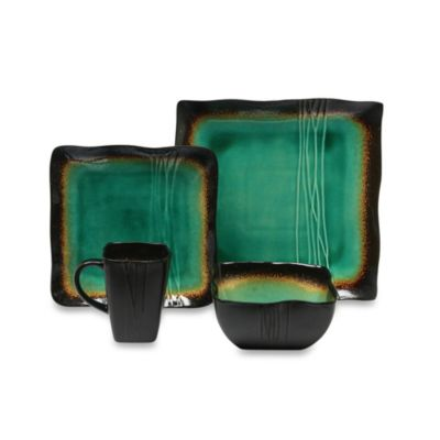 Green Brown Dinnerware Set