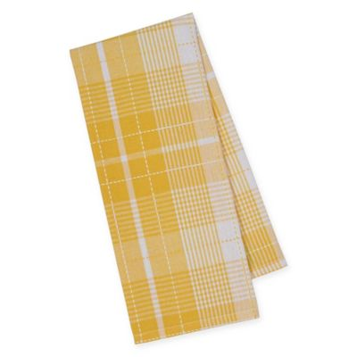 Plaid Dish Towels in Yellow/White (Set of 4)