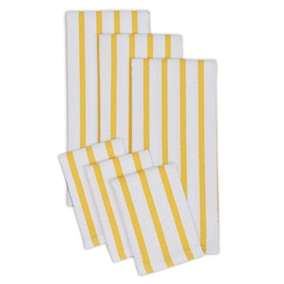 Heavyweight Striped Dish Towels and Dish Cloths in Yellow/White (Set of 4)