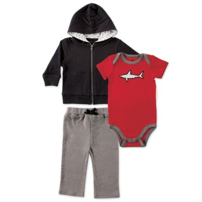 BabyVision® Yoga Sprout Size 0-3M 3-Piece Shark Bodysuit, Hoodie, and Pant Set in Black/Red