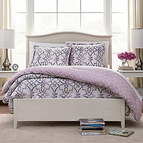 Watercolor Trellis Reversible Comforter Set Bed Bath