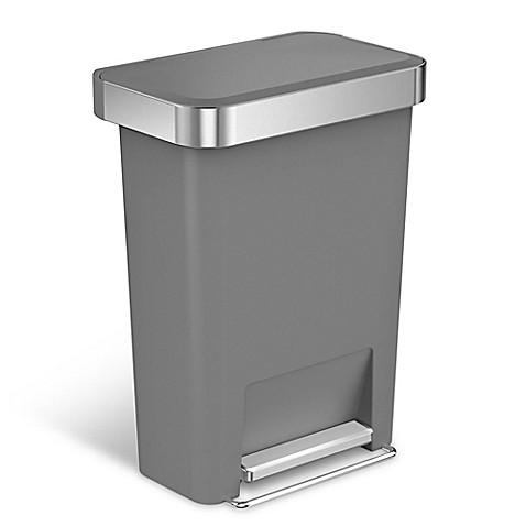 Simplehuman 174 45 Liter Plastic Rectangular Step Trash Can