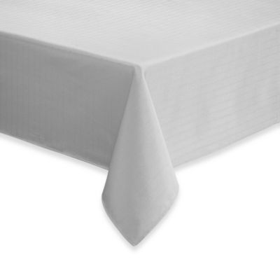 Windsor Stain Resistant 70-Inch x 84-Inch Oblong Tablecloth in White