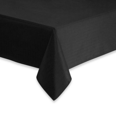 Windsor Stain Resistant 70-Inch x 84-Inch Oval Tablecloth in Black