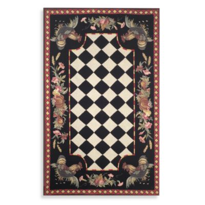 Rooster 8-Foot x 10-Foot Room Size Rug in Black