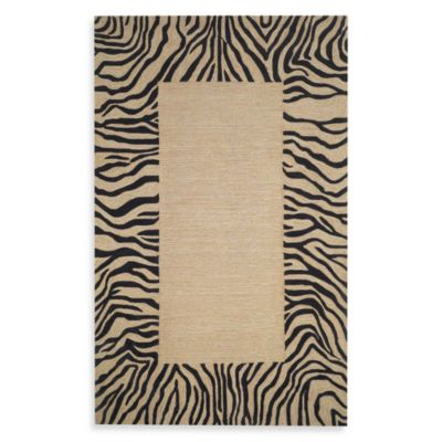 Zebra Border Neutral 8-Foot x 10-Foot Room Size Rug