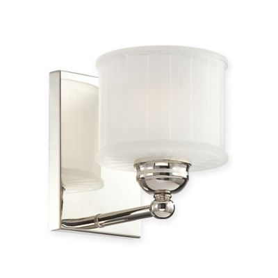 Wall Lamps Bed Bath Beyond : Minka Lavery 1730 Series 1-Light Wall-Mount Bath Fixture in Polished Nickel with Glass Shade ...