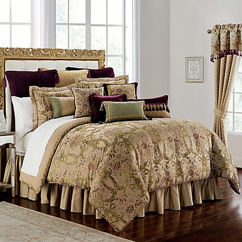 Waterford 174 Linens Carlotta Comforter Set In Gold Bed