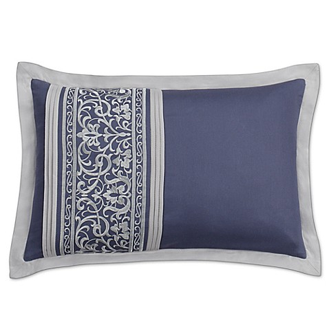Santorini Embroidered Oblong Throw Pillow in Blue/White - Bed Bath & Beyond